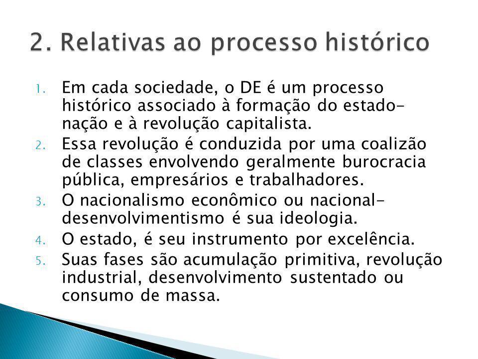 1. Em cada sociedade, o DE é um processo histórico associado à formação do estado- nação e à revolução capitalista. 2. Essa revolução é conduzida por