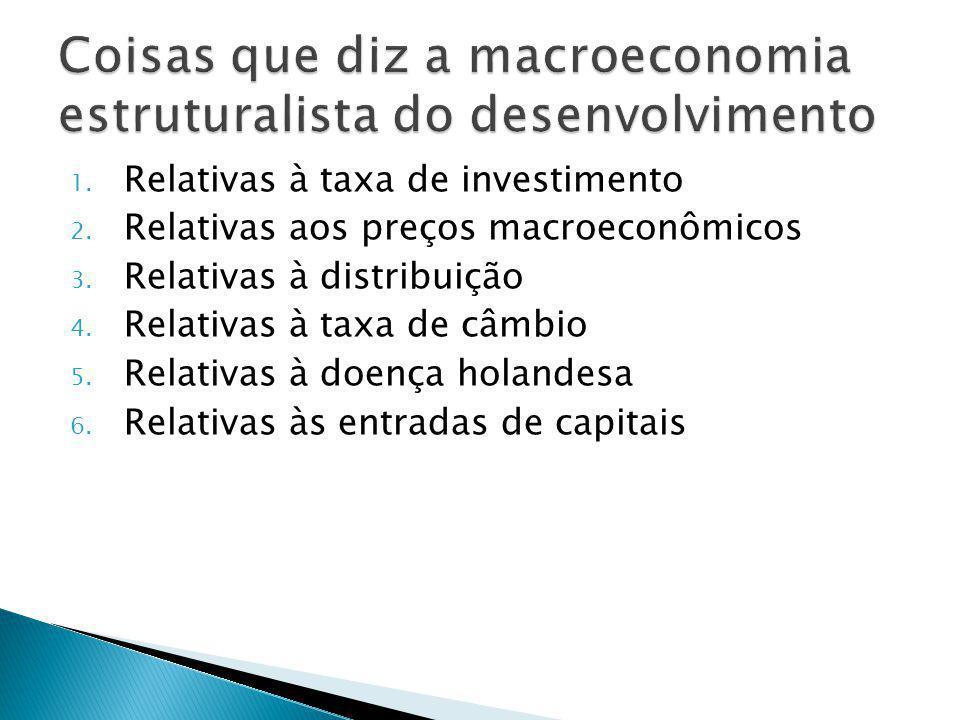 1. Relativas à taxa de investimento 2. Relativas aos preços macroeconômicos 3.