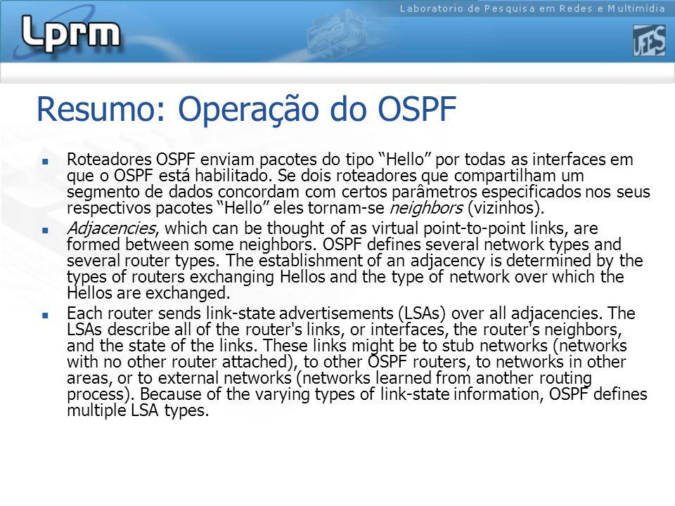 Resumo: Operação do OSPF Roteadores OSPF enviam pacotes do tipo Hello por todas as interfaces em que o OSPF está habilitado.