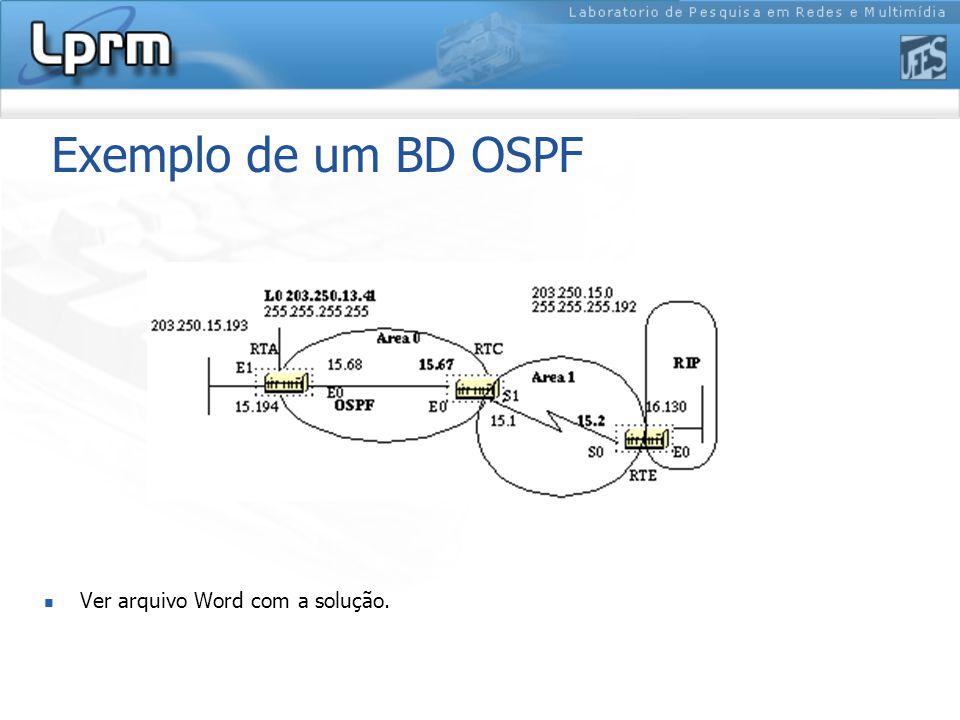 Exemplo de um BD OSPF Ver arquivo Word com a solução.