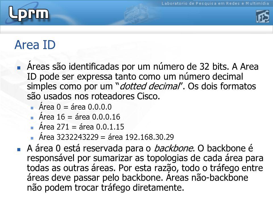 Area ID Áreas são identificadas por um número de 32 bits.