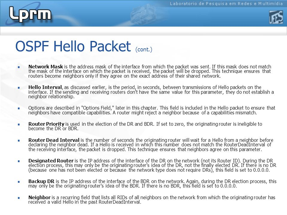 OSPF Hello Packet (cont.) Network Mask is the address mask of the interface from which the packet was sent.