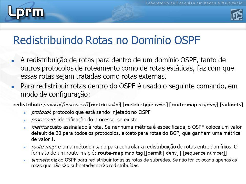Redistribuindo Rotas no Domínio OSPF A redistribuição de rotas para dentro de um domínio OSPF, tanto de outros protocolos de roteamento como de rotas estáticas, faz com que essas rotas sejam tratadas como rotas externas.