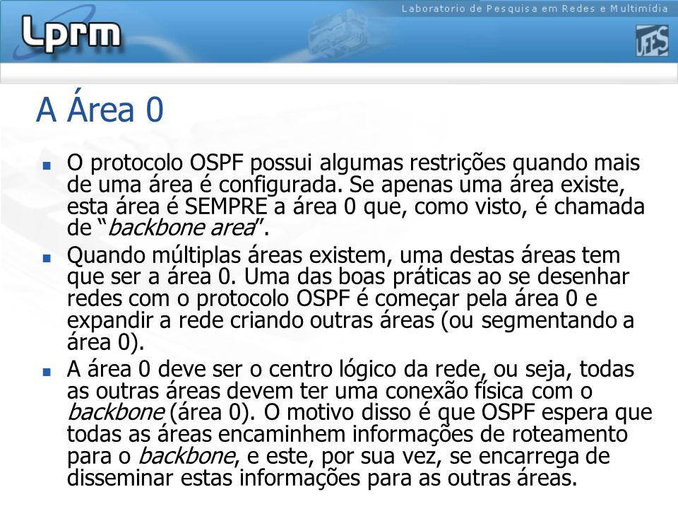 A Área 0 O protocolo OSPF possui algumas restrições quando mais de uma área é configurada.
