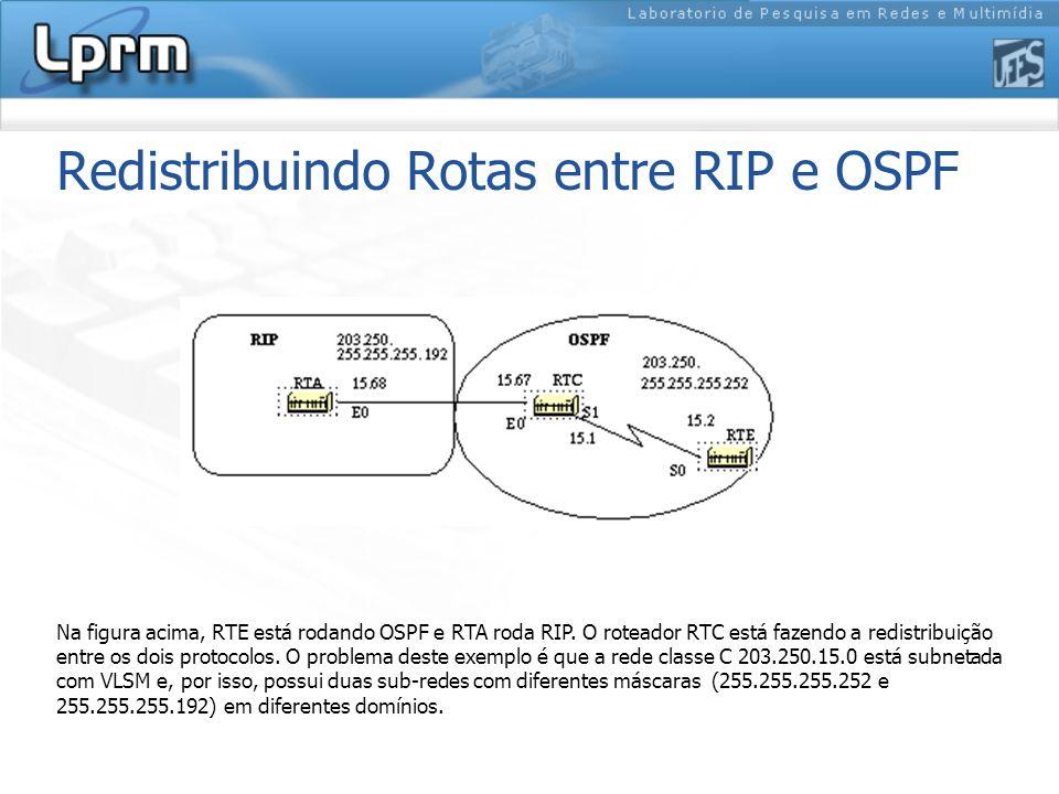 Redistribuindo Rotas entre RIP e OSPF Na figura acima, RTE está rodando OSPF e RTA roda RIP.