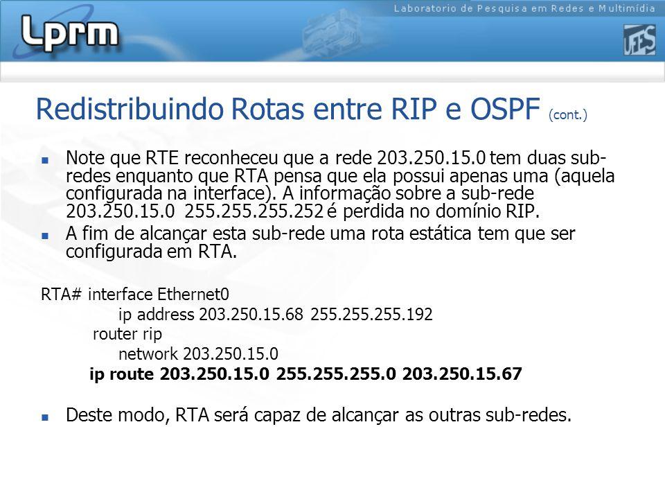 Redistribuindo Rotas entre RIP e OSPF (cont.) Note que RTE reconheceu que a rede 203.250.15.0 tem duas sub- redes enquanto que RTA pensa que ela possui apenas uma (aquela configurada na interface).