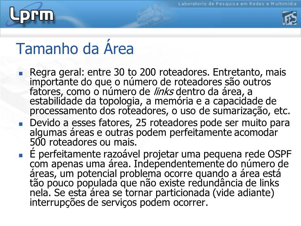 Tamanho da Área Regra geral: entre 30 to 200 roteadores.