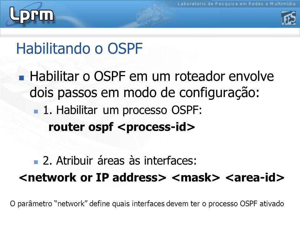 Habilitando o OSPF Habilitar o OSPF em um roteador envolve dois passos em modo de configuração: 1.