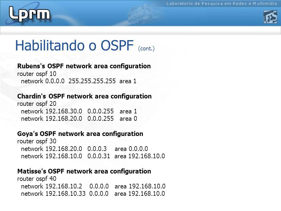 Rubens s OSPF network area configuration router ospf 10 network 0.0.0.0 255.255.255.255 area 1 Chardin s OSPF network area configuration router ospf 20 network 192.168.30.0 0.0.0.255 area 1 network 192.168.20.0 0.0.0.255 area 0 Goya s OSPF network area configuration router ospf 30 network 192.168.20.0 0.0.0.3 area 0.0.0.0 network 192.168.10.0 0.0.0.31 area 192.168.10.0 Matisse s OSPF network area configuration router ospf 40 network 192.168.10.2 0.0.0.0 area 192.168.10.0 network 192.168.10.33 0.0.0.0 area 192.168.10.0