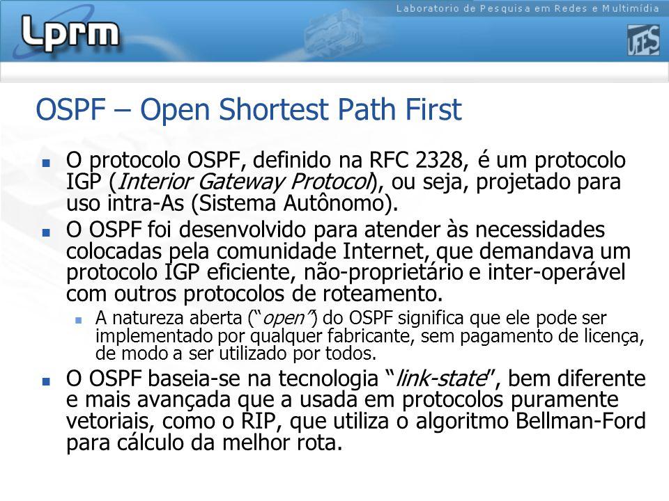 OSPF – Open Shortest Path First O protocolo OSPF, definido na RFC 2328, é um protocolo IGP (Interior Gateway Protocol), ou seja, projetado para uso intra-As (Sistema Autônomo).