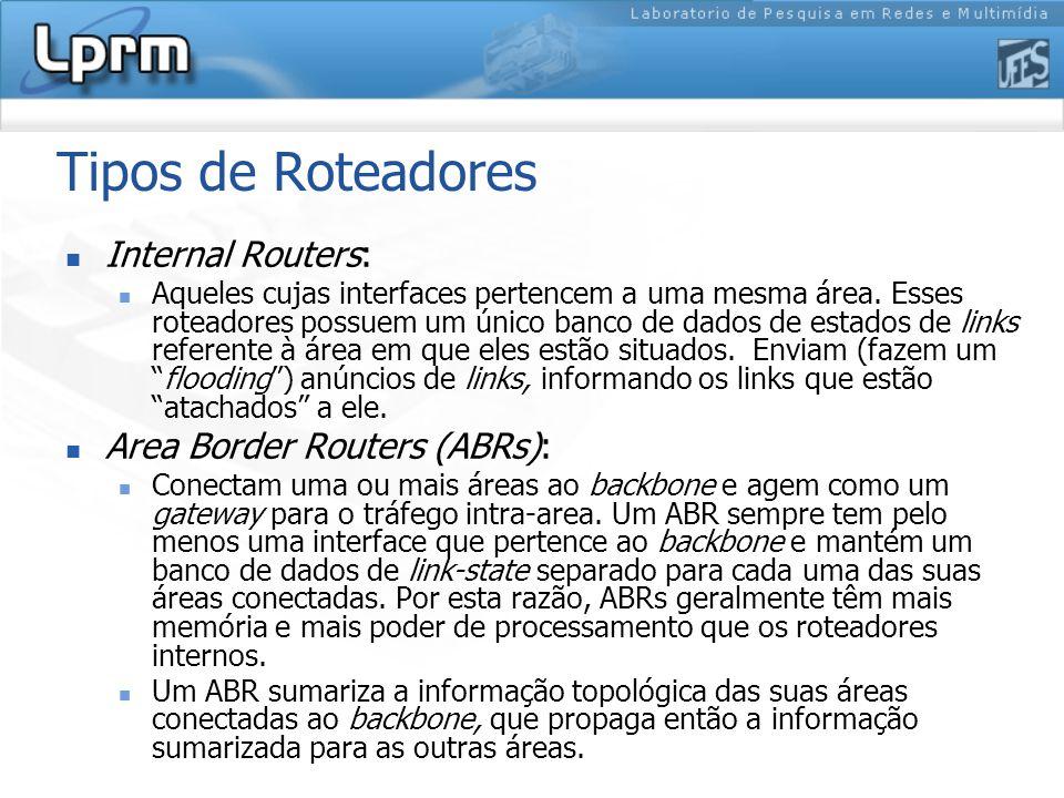 Tipos de Roteadores Internal Routers: Aqueles cujas interfaces pertencem a uma mesma área.