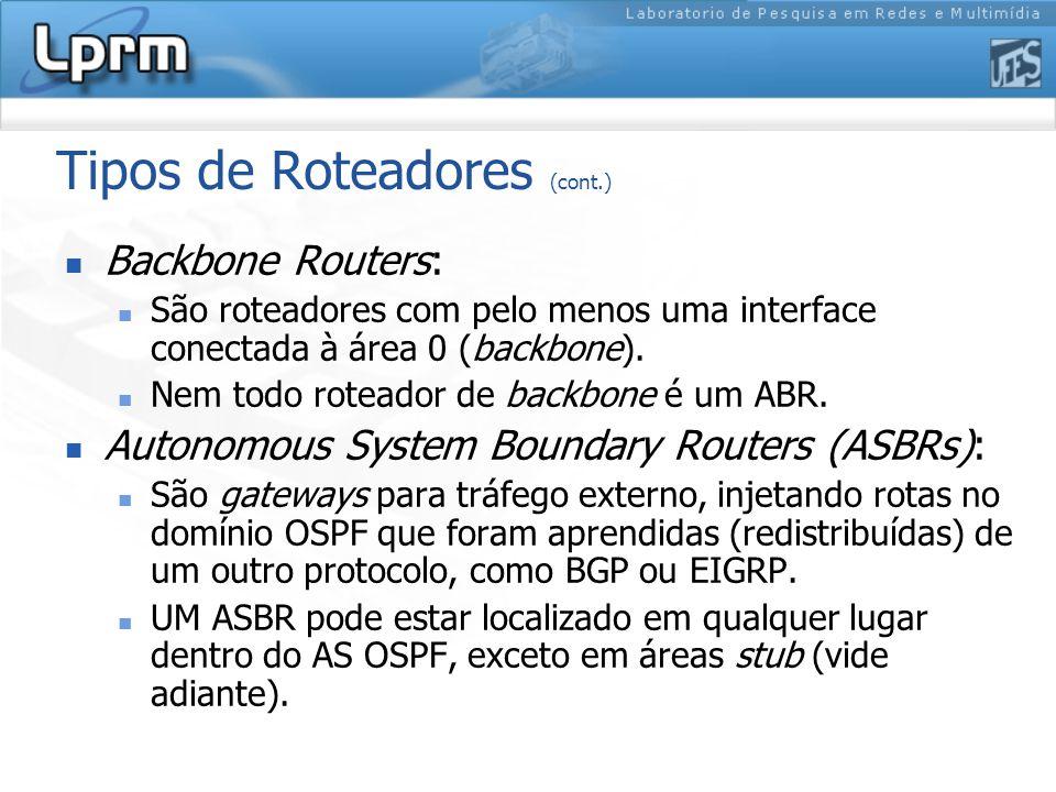 Tipos de Roteadores (cont.) Backbone Routers: São roteadores com pelo menos uma interface conectada à área 0 (backbone).