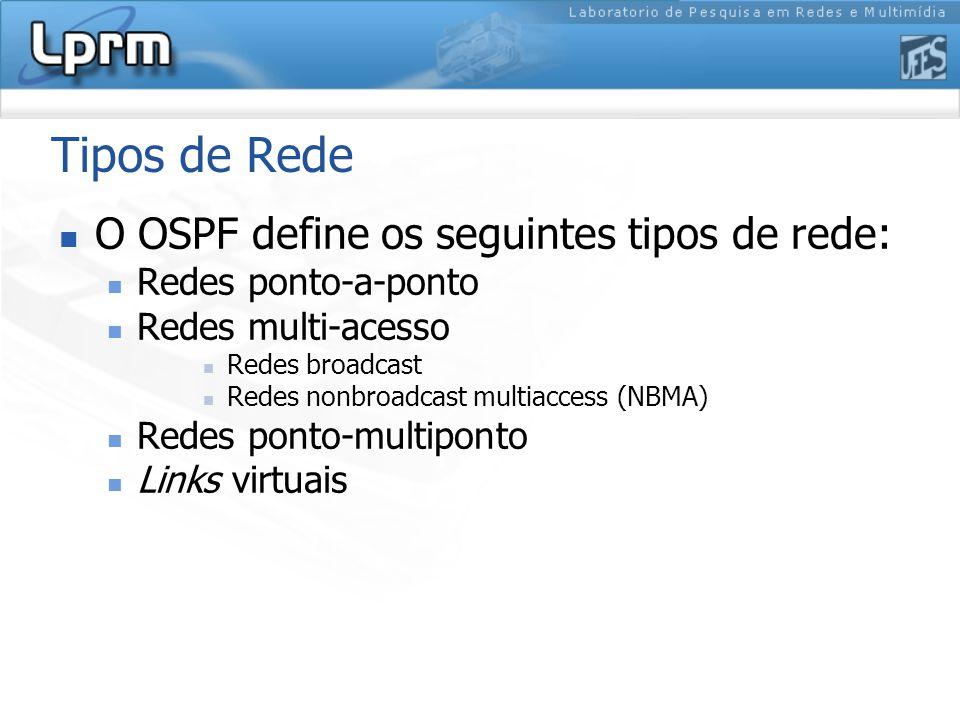 Tipos de Rede O OSPF define os seguintes tipos de rede: Redes ponto-a-ponto Redes multi-acesso Redes broadcast Redes nonbroadcast multiaccess (NBMA) Redes ponto-multiponto Links virtuais