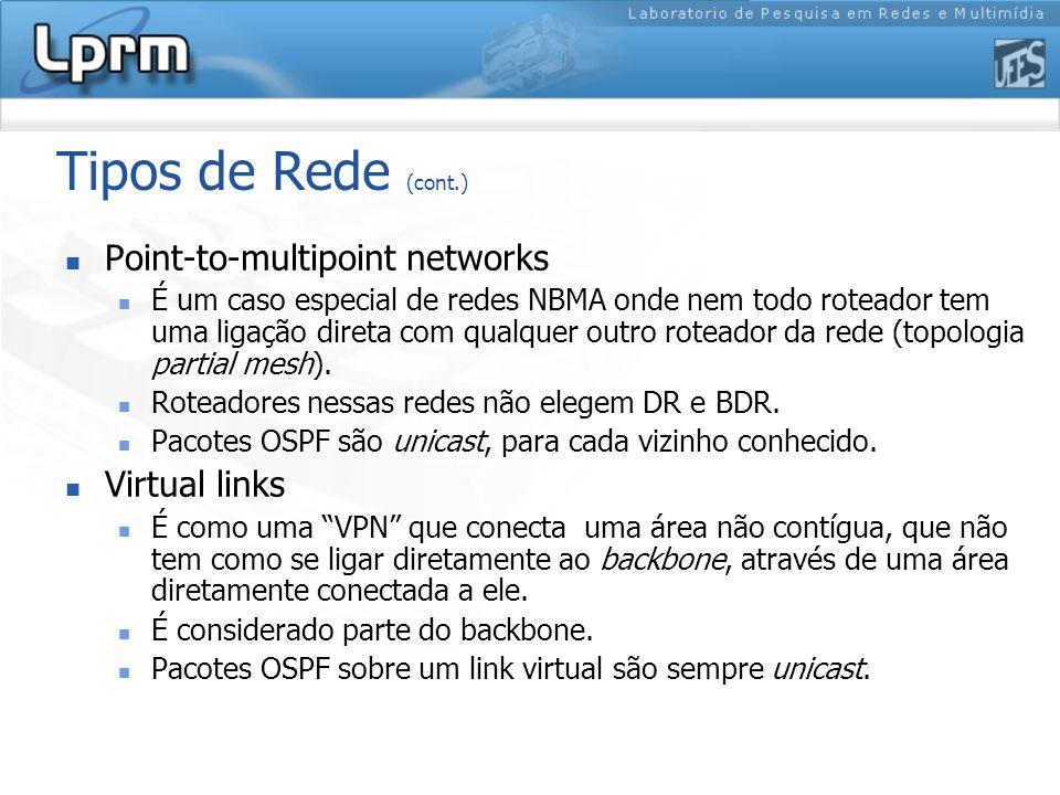 Tipos de Rede (cont.) Point-to-multipoint networks É um caso especial de redes NBMA onde nem todo roteador tem uma ligação direta com qualquer outro roteador da rede (topologia partial mesh).