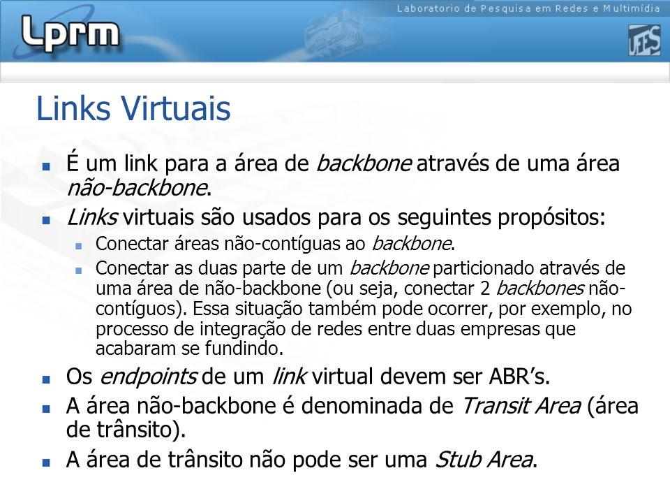 Links Virtuais É um link para a área de backbone através de uma área não-backbone.