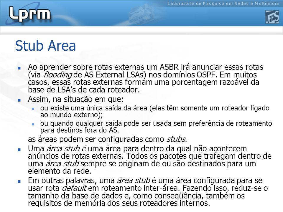 Stub Area Ao aprender sobre rotas externas um ASBR irá anunciar essas rotas (via flooding de AS External LSAs) nos domínios OSPF.