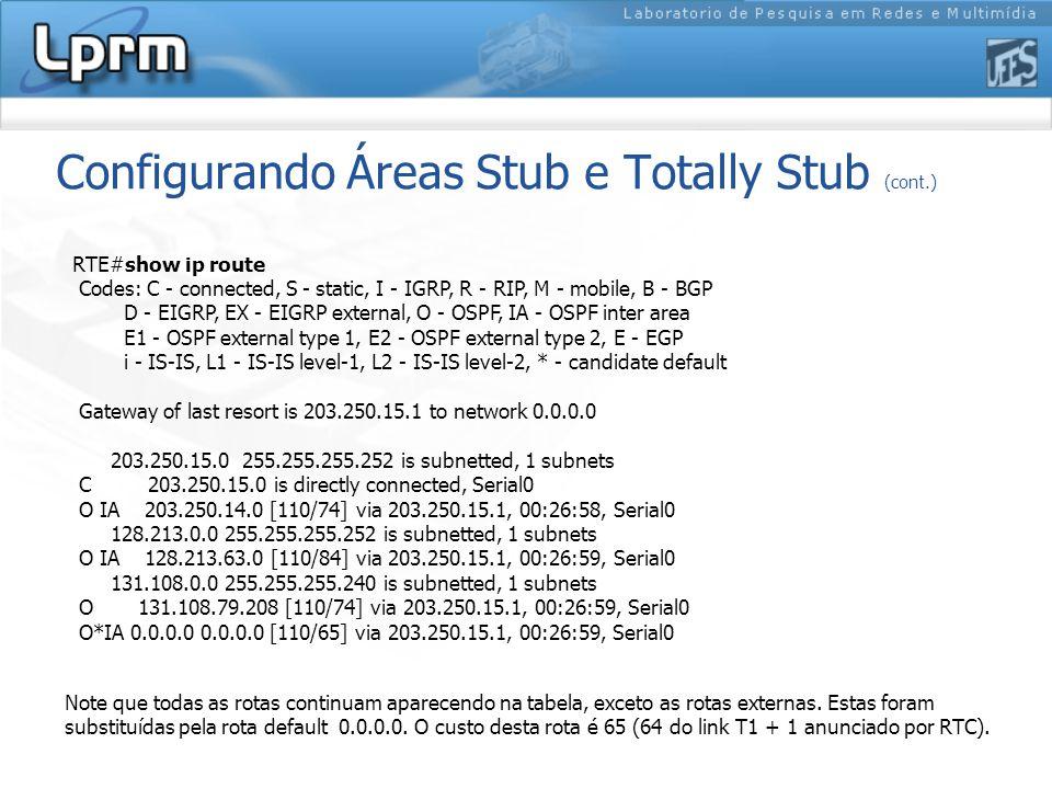 Configurando Áreas Stub e Totally Stub (cont.) Note que todas as rotas continuam aparecendo na tabela, exceto as rotas externas.