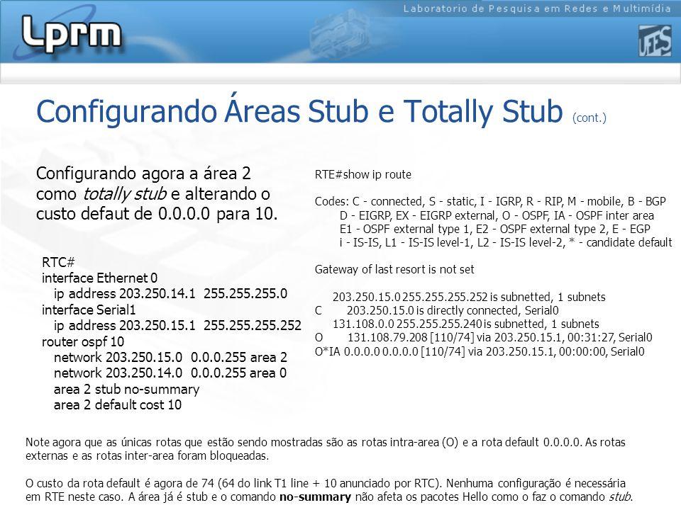 Configurando Áreas Stub e Totally Stub (cont.) Configurando agora a área 2 como totally stub e alterando o custo defaut de 0.0.0.0 para 10.