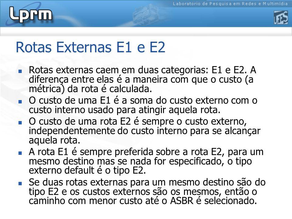 Rotas Externas E1 e E2 Rotas externas caem em duas categorias: E1 e E2.