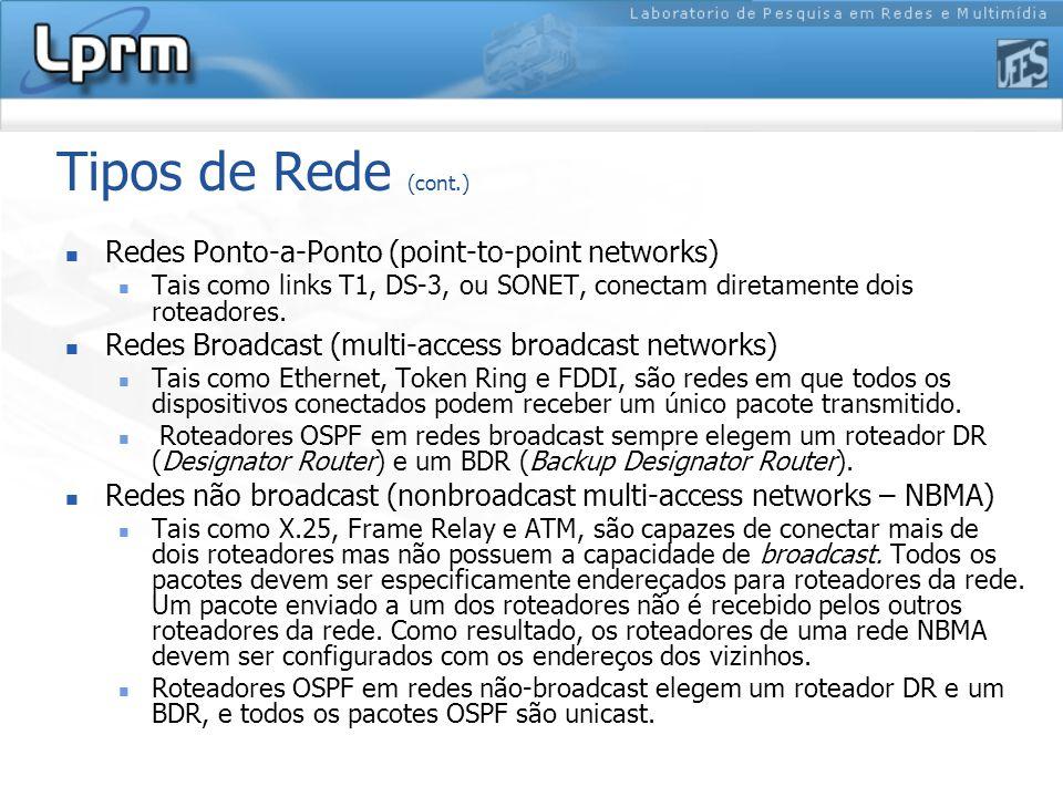 Tipos de Rede (cont.) Redes Ponto-a-Ponto (point-to-point networks) Tais como links T1, DS-3, ou SONET, conectam diretamente dois roteadores.