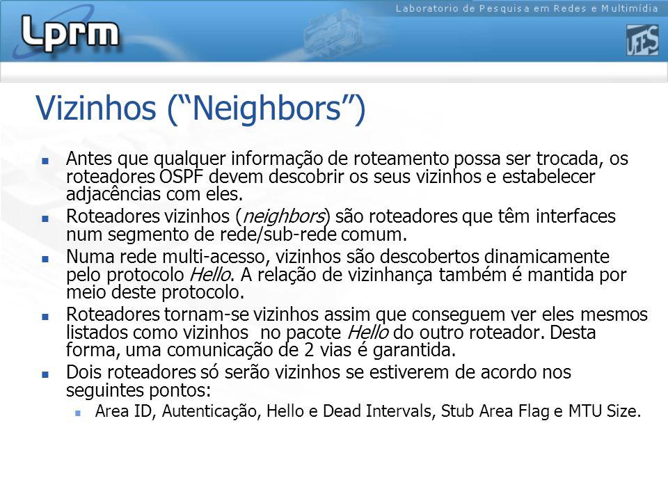 Vizinhos ( Neighbors ) Antes que qualquer informação de roteamento possa ser trocada, os roteadores OSPF devem descobrir os seus vizinhos e estabelecer adjacências com eles.