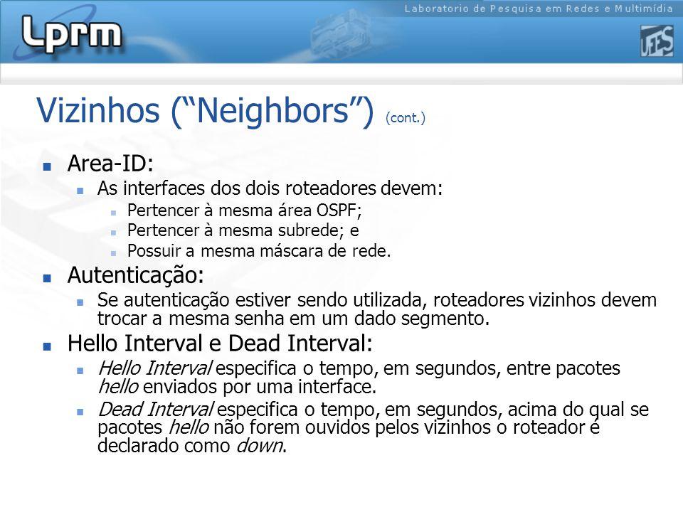 Vizinhos ( Neighbors ) (cont.) Area-ID: As interfaces dos dois roteadores devem: Pertencer à mesma área OSPF; Pertencer à mesma subrede; e Possuir a mesma máscara de rede.