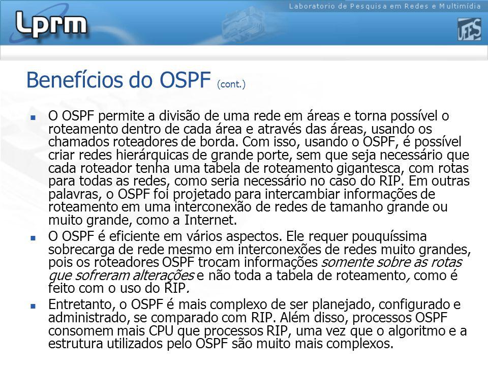 Benefícios do OSPF (cont.) O OSPF permite a divisão de uma rede em áreas e torna possível o roteamento dentro de cada área e através das áreas, usando os chamados roteadores de borda.