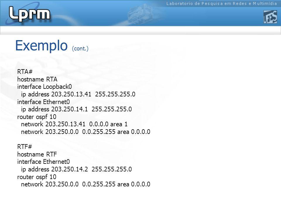 Exemplo (cont.) RTA# hostname RTA interface Loopback0 ip address 203.250.13.41 255.255.255.0 interface Ethernet0 ip address 203.250.14.1 255.255.255.0 router ospf 10 network 203.250.13.41 0.0.0.0 area 1 network 203.250.0.0 0.0.255.255 area 0.0.0.0 RTF# hostname RTF interface Ethernet0 ip address 203.250.14.2 255.255.255.0 router ospf 10 network 203.250.0.0 0.0.255.255 area 0.0.0.0
