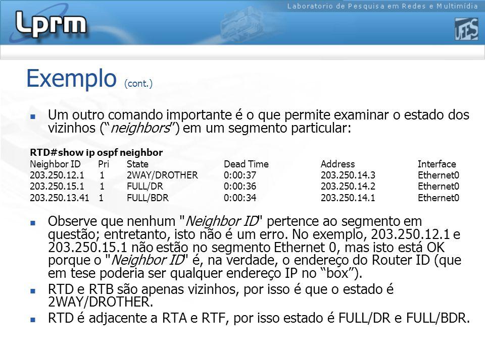 Exemplo (cont.) Um outro comando importante é o que permite examinar o estado dos vizinhos ( neighbors ) em um segmento particular: RTD#show ip ospf neighbor Neighbor ID Pri State Dead Time Address Interface 203.250.12.1 1 2WAY/DROTHER 0:00:37 203.250.14.3 Ethernet0 203.250.15.1 1 FULL/DR 0:00:36 203.250.14.2 Ethernet0 203.250.13.41 1 FULL/BDR 0:00:34 203.250.14.1 Ethernet0 Observe que nenhum Neighbor ID pertence ao segmento em questão; entretanto, isto não é um erro.
