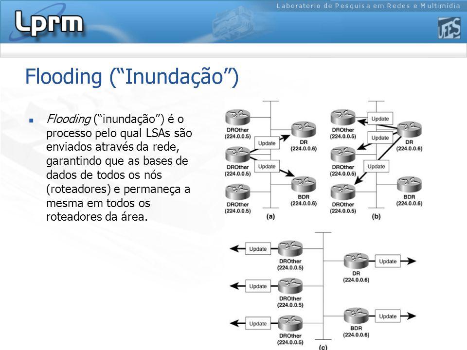 Flooding ( Inundação ) Flooding ( inundação ) é o processo pelo qual LSAs são enviados através da rede, garantindo que as bases de dados de todos os nós (roteadores) e permaneça a mesma em todos os roteadores da área.