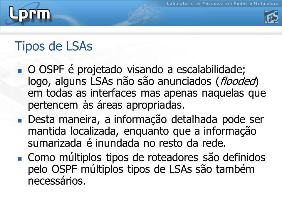 Tipos de LSAs O OSPF é projetado visando a escalabilidade; logo, alguns LSAs não são anunciados (flooded) em todas as interfaces mas apenas naquelas que pertencem às áreas apropriadas.