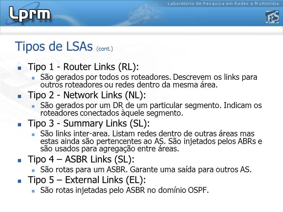 Tipos de LSAs (cont.) Tipo 1 - Router Links (RL): São gerados por todos os roteadores.