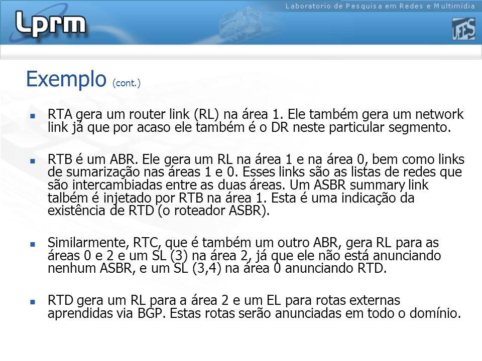 Exemplo (cont.) RTA gera um router link (RL) na área 1.