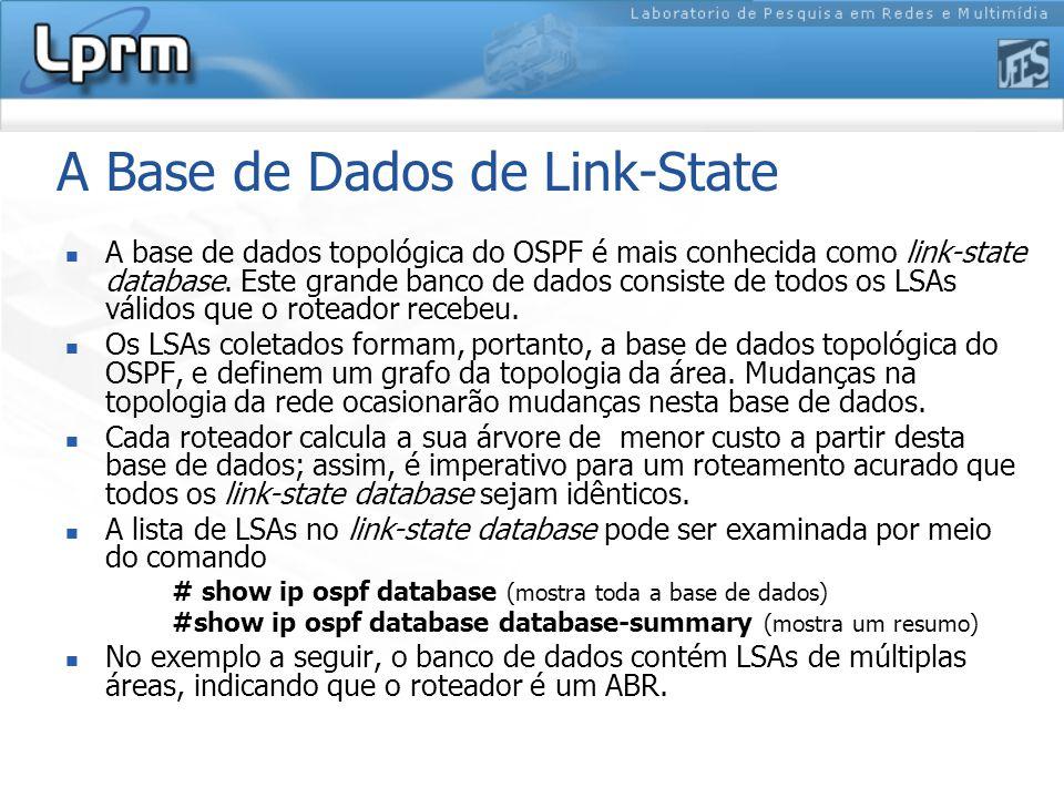 A Base de Dados de Link-State A base de dados topológica do OSPF é mais conhecida como link-state database.