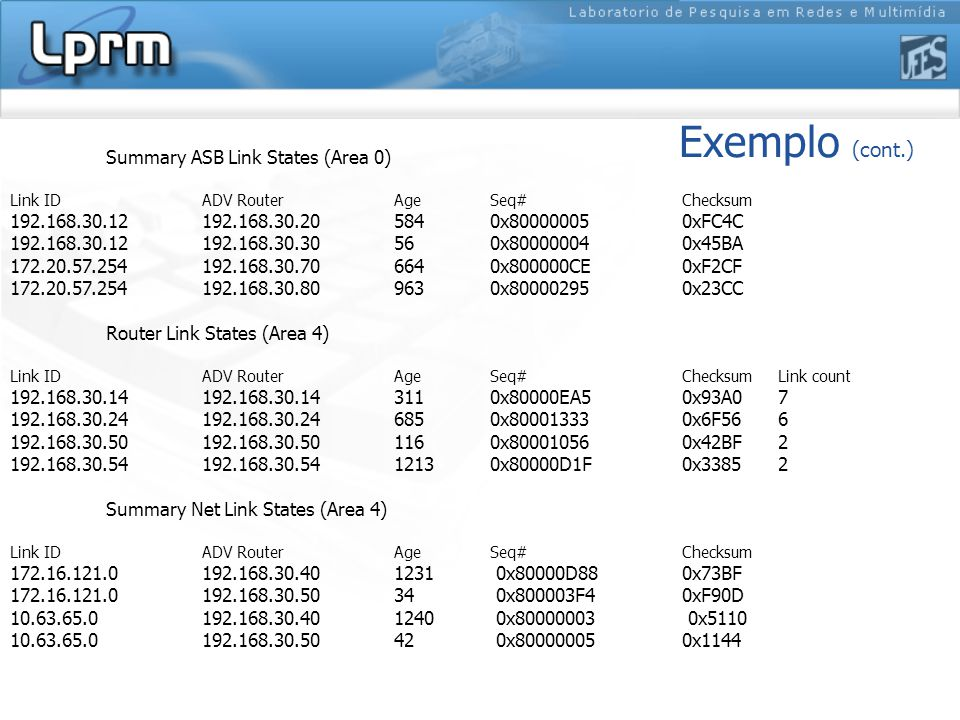 Exemplo (cont.) Summary ASB Link States (Area 0) Link ID ADV Router Age Seq# Checksum 192.168.30.12 192.168.30.20 584 0x80000005 0xFC4C 192.168.30.12 192.168.30.30 56 0x80000004 0x45BA 172.20.57.254 192.168.30.70 664 0x800000CE 0xF2CF 172.20.57.254 192.168.30.80 963 0x80000295 0x23CC Router Link States (Area 4) Link ID ADV Router Age Seq# Checksum Link count 192.168.30.14 192.168.30.14 311 0x80000EA5 0x93A0 7 192.168.30.24 192.168.30.24 685 0x80001333 0x6F56 6 192.168.30.50 192.168.30.50 116 0x80001056 0x42BF 2 192.168.30.54 192.168.30.54 1213 0x80000D1F 0x3385 2 Summary Net Link States (Area 4) Link ID ADV Router Age Seq# Checksum 172.16.121.0 192.168.30.40 1231 0x80000D88 0x73BF 172.16.121.0 192.168.30.50 34 0x800003F4 0xF90D 10.63.65.0 192.168.30.40 1240 0x80000003 0x5110 10.63.65.0 192.168.30.50 42 0x80000005 0x1144