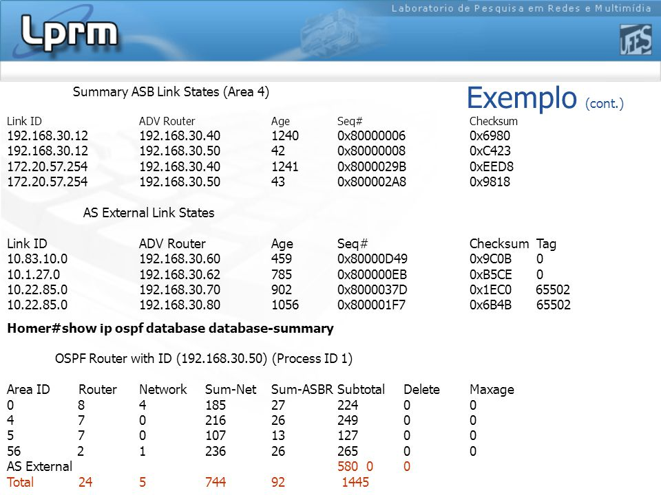 Exemplo (cont.) Summary ASB Link States (Area 4) Link ID ADV Router Age Seq# Checksum 192.168.30.12 192.168.30.40 1240 0x80000006 0x6980 192.168.30.12 192.168.30.50 42 0x80000008 0xC423 172.20.57.254 192.168.30.40 1241 0x8000029B 0xEED8 172.20.57.254 192.168.30.50 43 0x800002A8 0x9818 AS External Link States Link ID ADV Router Age Seq# Checksum Tag 10.83.10.0 192.168.30.60 459 0x80000D49 0x9C0B 0 10.1.27.0 192.168.30.62 785 0x800000EB 0xB5CE 0 10.22.85.0 192.168.30.70 902 0x8000037D 0x1EC0 65502 10.22.85.0 192.168.30.80 1056 0x800001F7 0x6B4B 65502 Homer#show ip ospf database database-summary OSPF Router with ID (192.168.30.50) (Process ID 1) Area ID RouterNetwork Sum-NetSum-ASBRSubtotalDelete Maxage 0 8 4 185 27 224 0 0 4 7 0 216 26 249 0 0 5 7 0 107 13 127 0 0 56 2 1 236 26 265 0 0 AS External 580 0 0 Total 24 5 744 92 1445