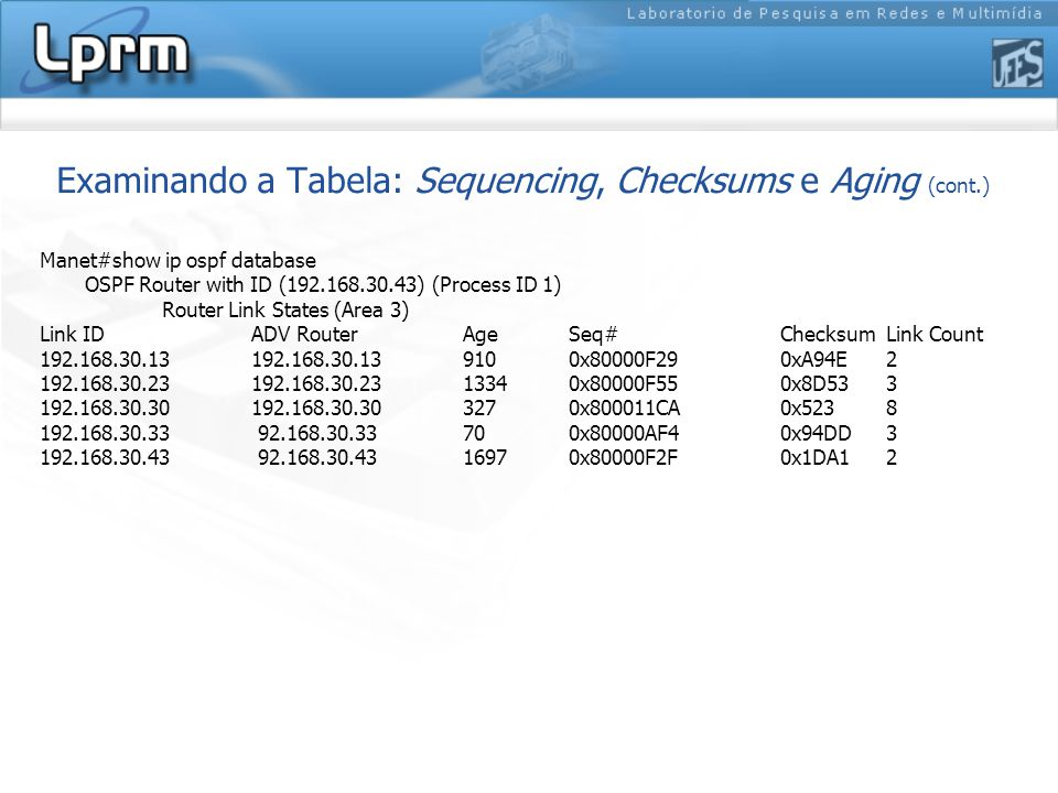 Examinando a Tabela: Sequencing, Checksums e Aging (cont.) Manet#show ip ospf database OSPF Router with ID (192.168.30.43) (Process ID 1) Router Link States (Area 3) Link ID ADV Router Age Seq# Checksum Link Count 192.168.30.13 192.168.30.13 910 0x80000F29 0xA94E 2 192.168.30.23 192.168.30.23 1334 0x80000F55 0x8D53 3 192.168.30.30 192.168.30.30 327 0x800011CA 0x523 8 192.168.30.33 92.168.30.33 70 0x80000AF4 0x94DD 3 192.168.30.43 92.168.30.43 1697 0x80000F2F 0x1DA1 2