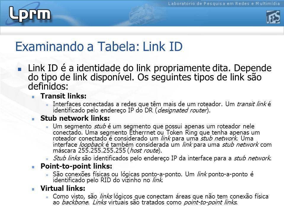 Examinando a Tabela: Link ID Link ID é a identidade do link propriamente dita.