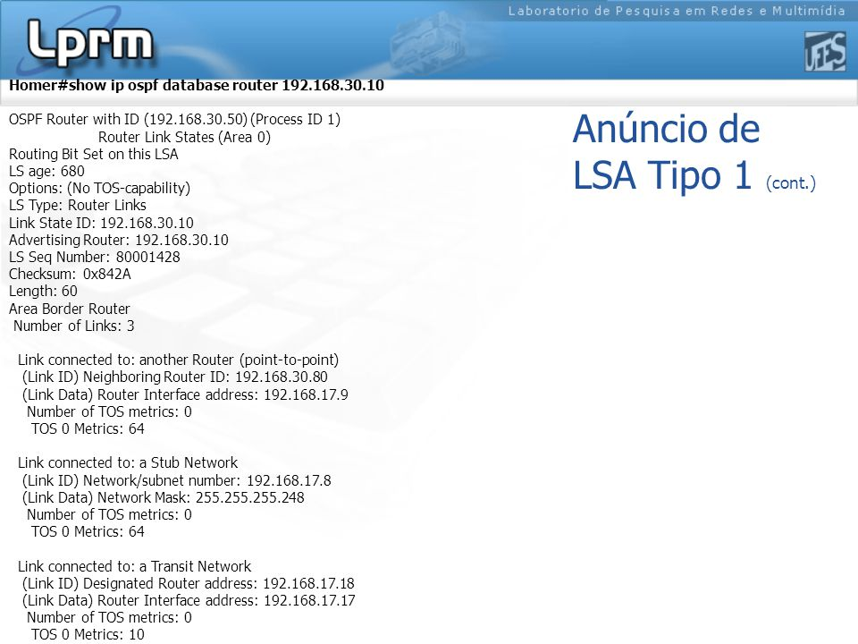Anúncio de LSA Tipo 1 (cont.) Homer#show ip ospf database router 192.168.30.10 OSPF Router with ID (192.168.30.50) (Process ID 1) Router Link States (