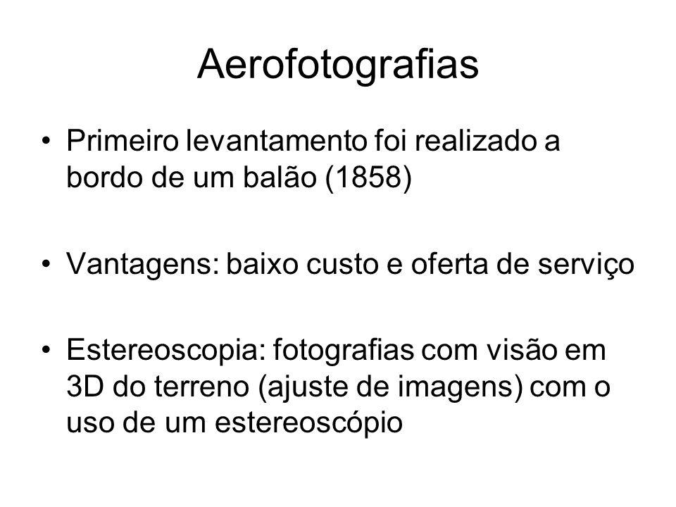 Aerofotografias Primeiro levantamento foi realizado a bordo de um balão (1858) Vantagens: baixo custo e oferta de serviço Estereoscopia: fotografias com visão em 3D do terreno (ajuste de imagens) com o uso de um estereoscópio