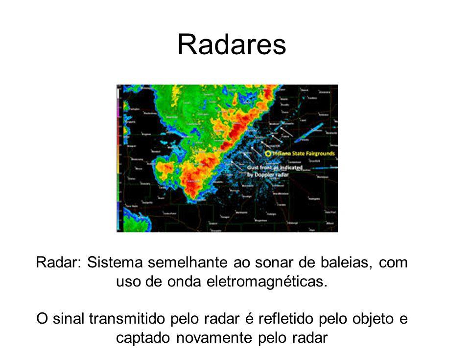Radares Radar: Sistema semelhante ao sonar de baleias, com uso de onda eletromagnéticas. O sinal transmitido pelo radar é refletido pelo objeto e capt