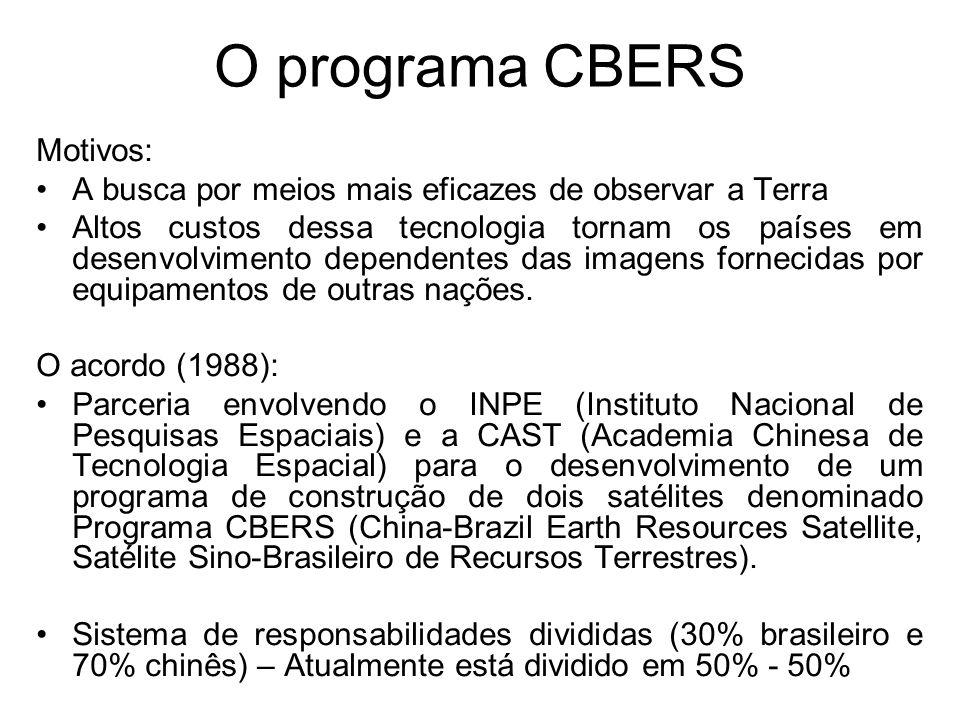 O programa CBERS Motivos: A busca por meios mais eficazes de observar a Terra Altos custos dessa tecnologia tornam os países em desenvolvimento dependentes das imagens fornecidas por equipamentos de outras nações.