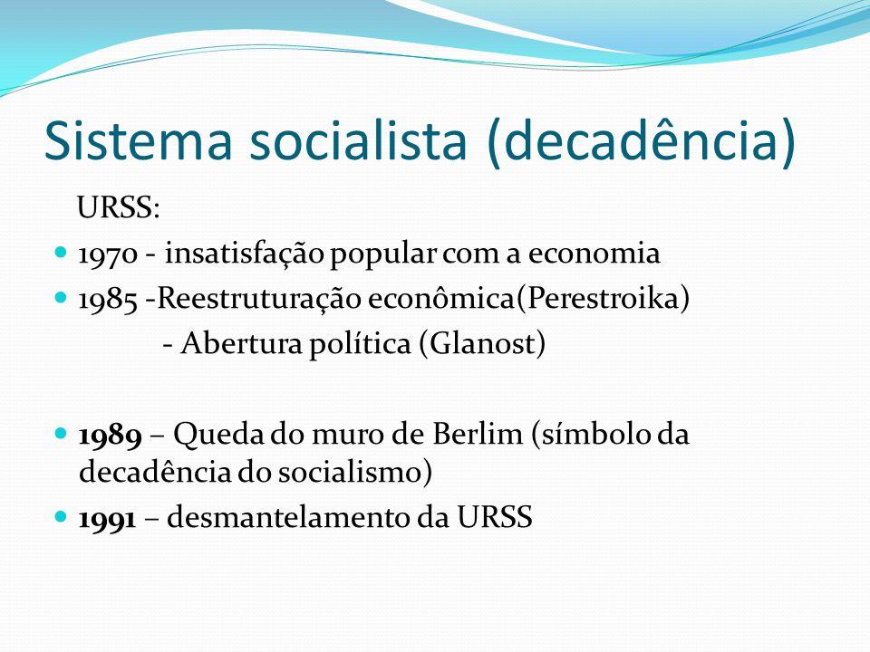 Sistema socialista (decadência) URSS: 1970 - insatisfação popular com a economia 1985 -Reestruturação econômica(Perestroika) - Abertura política (Glan