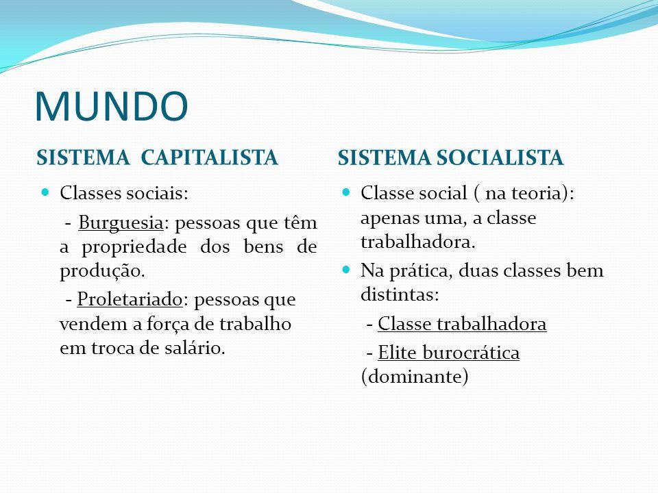 MUNDO SISTEMA CAPITALISTA SISTEMA SOCIALISTA Classes sociais: - Burguesia: pessoas que têm a propriedade dos bens de produção. - Proletariado: pessoas
