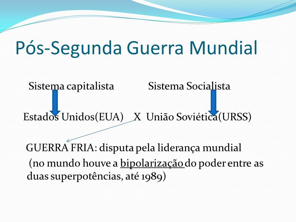 Pós-Segunda Guerra Mundial Sistema capitalista Sistema Socialista Estados Unidos(EUA) X União Soviética(URSS) GUERRA FRIA: disputa pela liderança mund