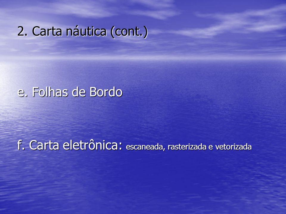 2. Carta náutica (cont.) e. Folhas de Bordo f. Carta eletrônica: escaneada, rasterizada e vetorizada