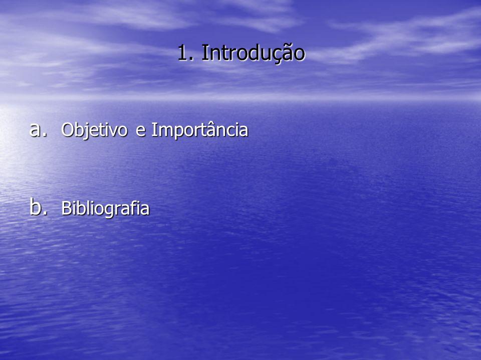 1. Introdução a. Objetivo e Importância b. Bibliografia