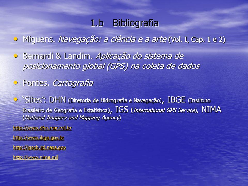 1.b Bibliografia Miguens. Navegação: a ciência e a arte (Vol. I, Cap. 1 e 2) Miguens. Navegação: a ciência e a arte (Vol. I, Cap. 1 e 2) Bernardi & La