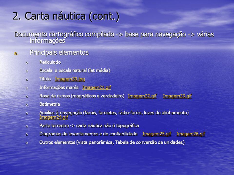 2. Carta náutica (cont.) Documento cartográfico compilado -> base para navegação -> várias informações a. Principais elementos o Reticulado o Escala e