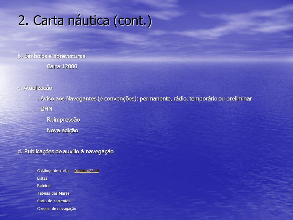 2. Carta náutica (cont.) b. Símbolos e abreviaturas Carta 12000 c. Atualização. Aviso aos Navegantes (e convenções): permanente, rádio, temporário ou
